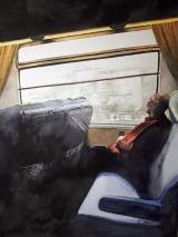 Dans un train Paris-Normandie aquarelle 24 x 32 cm