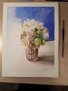 aquarelle florale 25 x 35 cm