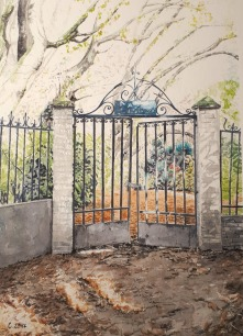 aquarelle petit format île Fanac, Joinville-Le-Pont Bords de Marne, Grand Paris