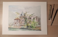 La musique y pousse en rose école de musique, île Fanac Bords de Marne, Grand Paris aquarelle