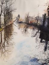 écluse de l'île Brise Pain, Créteil Bords de Marne, Grand Paris aquarelle 42 x 62 cm