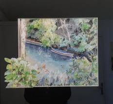 Bras de Marne bucolique, Joinville-Le-Pont Canoë sur l'eau aquarelle 27 x 23 cm