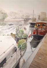Port de Joinville-Le-Pont Bords de Marne, Grand Paris aquarelle