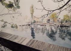 Bords de Marne, Grand Paris aquarelle 50 x 37 cm