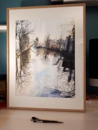 écluse de l'île Brise Pain, Créteil Bords de Marne, Grand Paris aquarelle 46 x 62 cm