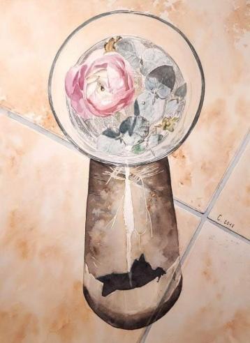 Renoncules aquarelle 30 x 40 cm