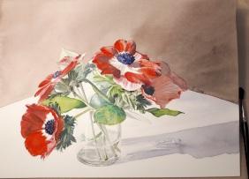 anémones aquarelle 30 x 40 cm