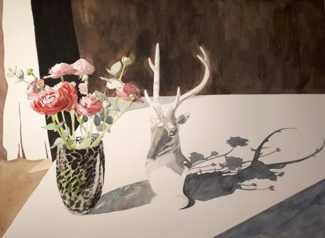 Renoncules et cerf aquarelle 42 x 56 cm