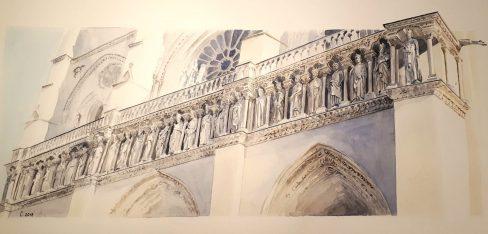 Les 28 rois d'Israël et de Judah Façade principale de la Cathédrale Notre Dame de Paris aquarelle