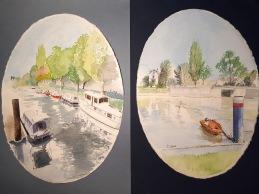 Dityque de gauche à droite vue depuis le port de Joinville-Le-Pont vue depuis l'école d'aviron en deux encadrements aquarelles ovales 28 x 39 cm chacune