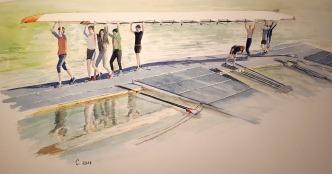 Ecole d'aviron Bords de Marne, Grand Paris aquarelle 46 x 23 cm