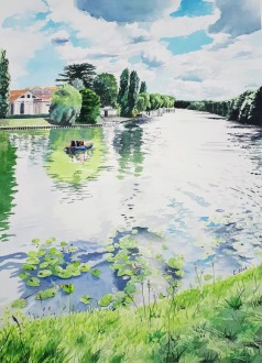 aquarelle paysage Marne nénuphars