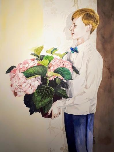 """série """"Les enfants fleurs"""" aquarelle 45 x 60 cm """"Les enfants n'ont ni passé ni avenir et, ce qui ne nous arrive guère, ils jouissent du présent."""" Jean de La Bruyère"""
