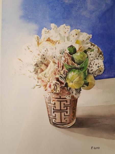 Petit bouquet dans un verre d'eau aquarelle 25 x 35 cm