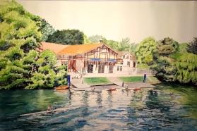Bords de Marne, Grand Paris Ecole d'aviron de Joinville-Le-Pont aquarelle 55 x 37 cm