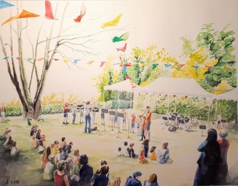 île Fanac, Bords de Marne, Grand Paris L'école de musique joue en plein air pour la fête de l'été aquarelle 45 x 36 cm