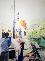Bords de Marne, Grand Paris Pont de Joinville-Le-Pont animé pour la fête de l'été aquarelle 30 x 40 cm