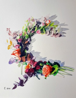"""Composition florale lettre """"C"""""""