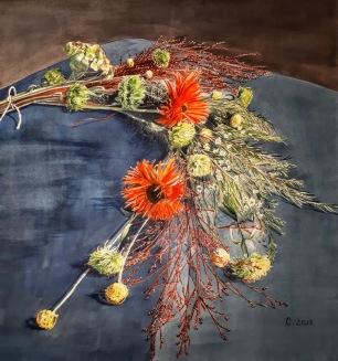 Bouquet d'hiver, aquarelle
