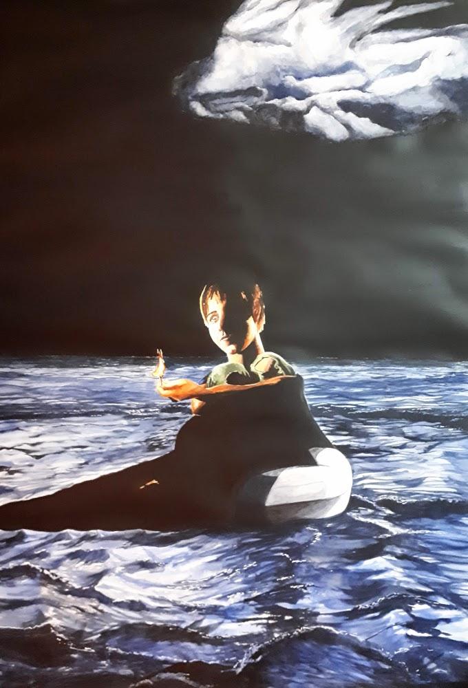 Migrant en mer , aquarelle